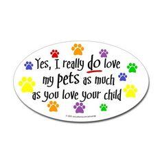 Love pets, child Oval Sticker