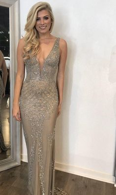 Fully hand beaded evening gown with plunging v neck line prom dress cg14746