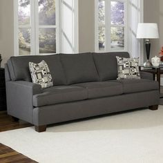 Charles Schneider Webber Blue Fabric Sofa with Accent Pillows - contemporary - sofas - Hayneedle