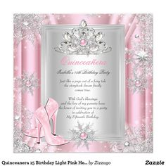 Shop Quinceanera 15 Birthday Light Pink Heels 2 Invitation created by Zizzago. Personalize it with photos & text or purchase as is! Butterfly Invitations, Gold Invitations, Custom Invitations, Birthday Invitations, Quince Invitations, Invitation Ideas, Invites, Birthday Tiara, 15th Birthday