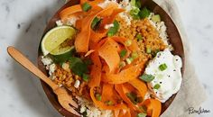 Cauliflower Rice Bowl with Curried Lentils, Carrots and Yogurt