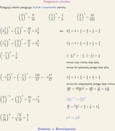 Potęguję ułamki potęgując licznik i mianownik ułamka. Love Math, School Motivation, Study Notes, Science, Math Equations, 3c, Education, Math Resources, Onderwijs