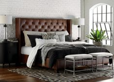 Our Custom Upholstered Beds & Headboards bring cool, relaxing style to any bedroom. Visit a store for additional design options, including designer fabric combinations, nail head trim options, and various leg styles and finishes. Area Rug Placement, Bed Rails, Under Bed, Metal Beds, Upholstered Beds, Leather Furniture, Headboards For Beds, Queen Beds