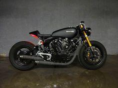 """Midnight"" by JTEC Moto.   1982 Yamaha Virago XV920 Cafe Racer R6 XV750.   YouTube clip showing the bike: https://www.youtube.com/watch?v=RuQ9M9WmmZE"