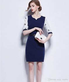 2015 Autumn Career Work Ladies Formal Working Dresses Slim Patchwork Knee-length  Women Bodycon Pencil 6805a5e4a6c1