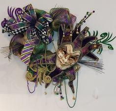 Floral, Crafts, Wreaths, Door Décor & Macramé by ScrtGrdnCrtnByAngie Wreaths For Front Door, Door Wreaths, Mardi Gras Wreath, Wreath Crafts, Handmade Items, Handmade Gifts, Door Design, Easy Access, Etsy Seller