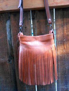 Boho Leather Fringe Cross Body Bag Leather Purse