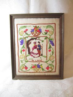 In Love Vintage Crewel Embroidery by LuckyPennyTrading on Etsy