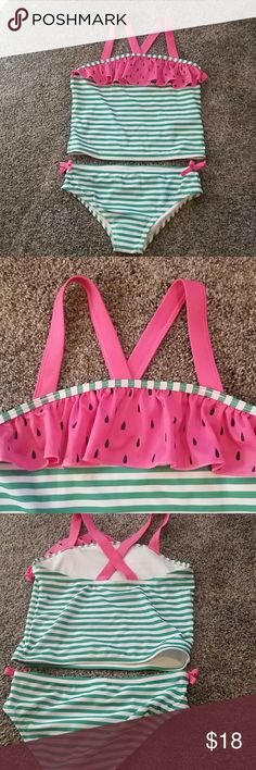 Watermelon tanking gymboree new with tag Green and white striped swimsuit. Cute bow detail on hips. Watermelon ruffle on top. Thick pink criss cross straps. Gymboree Swim Bikinis