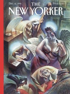 """The New Yorker - Monday, December 1995 - Issue # 3687 - Vol. 71 - N° 40 - Cover """"Heavenly Blues"""" by Carter Goodrich The New Yorker, New Yorker Covers, Magazine Illustration, Illustration Art, Visual Map, Magazine Art, Magazine Covers, Thing 1, Vintage Magazines"""