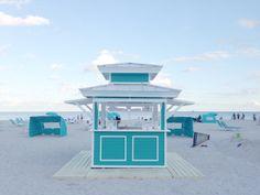 The Ritz-Carlton South Beach in Miami Beach, FL. Custom design/build beach hut equipment by CustomBeachHuts.com