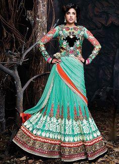 Pre Eminent Turquoise Georgette On Net Lehenga Choli