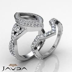 Marquise Diamond Engagement Ring Bridal Sets 14k Gold White Semi Mount 2.8Ct