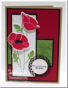 Pretty Poppies; Poppies and Leaves Die-namics; Mini Doily Circles Die-namics - Frances Byrne