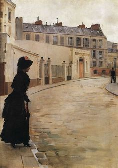 'Waiting, Rue de Chateaubriand, Paris' from Jean Béraud (c. 1900, Oil on canvas, 56 x 40 cm, Musée d'Orsay, Paris)