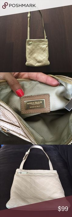 "Marina Rinaldi cross body bag, 11.5x10"" Made in Italy. Bag is very high quality original vale $850.  Brad logo detail on inner lining as well as on gold hardware.  Quilted leather bag, adjustable cross body strap. Marina Rinaldi Bags Crossbody Bags"