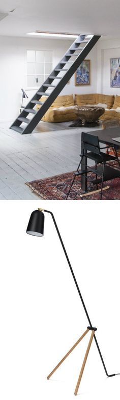 """Black floor lamp Thorso, from URBANARA. Find mustard yellow home decor inspirations and take a quick look at our new design service, UDESIGN, powered by Homewings, UK interior designers. Homewings' Designer's Tip: """"Bring a little bit of sunshine into a room with bright mustard and yellow accessories and fun geometric details"""""""