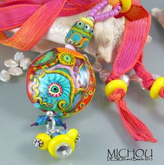 Bollywood Elephant  Art Glass Pendant/ Necklace by MichouJewelry, $159.00