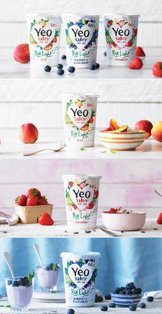 Bright, summery colours (Yeo Valley packaging design)  #packvertising #branding #packagingdesign Yogurt Packaging, Dairy Packaging, Organic Packaging, Milk Packaging, Food Packaging Design, Brand Packaging, Gazpacho, Dessert Drinks, Commercial Photography