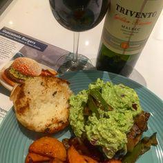 Tonight's culinary deliciousness - @blueapron Guacamole Burger & sweet potatoes paired w/ @TriventoWine Argentinian #malbec #nomnomnom