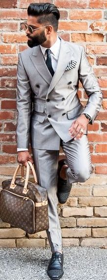 GO Grey with this Double Breasted Grey Suit and look stylish