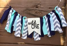 Wild One Birthday Bannner Highchair Boy Wild One Navy Gray Mint 1st Birthday Tribal Aztec Bunting Banner Smash Cake Banner photo prop boy