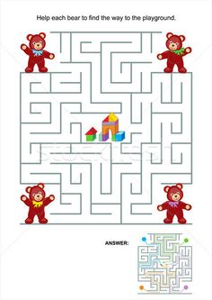 Illustration about Maze game or activity page for kids: Help each bear to find the way to the playground. Illustration of block, puzzles, maze - 32890353 Maze Games For Kids, Mazes For Kids, Dots And Boxes, Preschool Activities At Home, Bears Game, Maze Puzzles, Magic Squares, Printable Puzzles For Kids, Free Illustrations