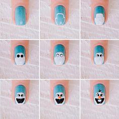 Olaf nail art (step by step) Olaf Nails, Disney Nails, Girls Nail Designs, Nail Art Designs, Sassy Nails, Cute Nails, Nail Art Hacks, Nail Art Diy, Frozen Nails