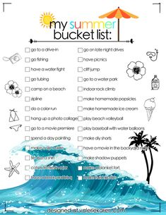 Best Summer Bucket List 2018 Ideas! Includes exciting outdoors adventures, & also more relaxed activities for hanging out at home. Here are 28 different summer adventure ideas including having a movie night in the backyard, & spending a day painting. Perfect for teenagers, & young adults! This is a printable summer bucket list!!