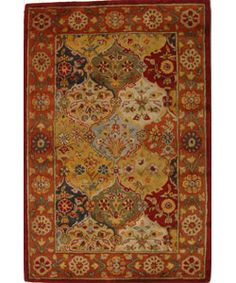 @Overstock - Gorgeous Heritage Bakhtiari rug will give your floor a seasoned look Carefully made in an ages old Persian design Area rug in a traditional motifhttp://www.overstock.com/Home-Garden/Handmade-Heritage-Bakhtiari-Multi-Red-Wool-Rug-4-x-6/2908135/product.html?CID=214117 $123.05