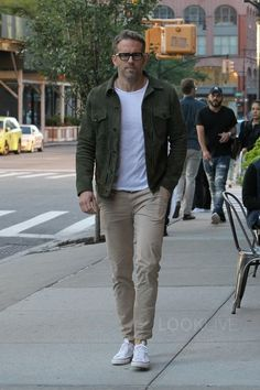 Ryan Reynolds wearing  Officine Générale Liam Suede Jacket, Converse Chuck Taylor All Star Low, Tom Ford Square Optical Frames