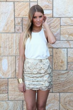 Gold Scallop Sequin Mini Skirt