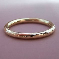 2 mm Round Hand Hammered Wedding Ring in 14k Rose or 14k Yellow Gold