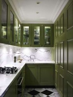 Green and Black and White Kitchen