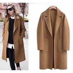 c5fcee472ca0 Européen Grande Taille Femme Manteau de Laine Couleur Unie Lapel Paquet  Paquet Automne Hiver Manteau Mode Manteau de Bureau