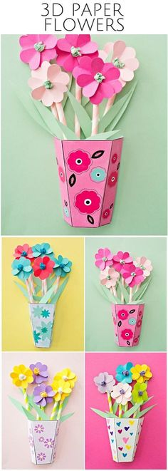 activité-manuelle-primaire-des-fleurs-en-papier-multicolores-tiges-en-paille-et-boite-en-carton-en-guise-de-vase-diy-deco