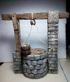 icu ~ Crazy DIY Clothespin Projects For Reuse Miniature Fairy Gardens, Miniature Houses, Miniature Dolls, Foam Crafts, Diy And Crafts, Arts And Crafts, Christmas Nativity Scene, Christmas Villages, Wishing Well