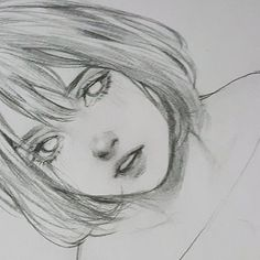 Do you prefer sketches or watercolours? Anime Drawings Sketches, Cool Art Drawings, Pencil Art Drawings, Anime Sketch, Drawing Faces, Portrait Sketches, Pretty Art, Cute Art, Manga Art