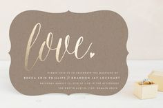 """Charming Love"" - Whimsical & Funny, Elegant Foil-pressed Wedding Invitations in Kraft by Melanie Severin."