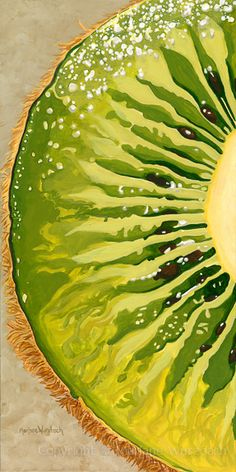 Slice of Kiwi Green von Marlane Wurzbach - Illustrations - good recipe - Obst Natural Forms Gcse, Natural Form Art, Kiwi, Arte Gcse, Fruit Painting, Food Art Painting, Paintings Of Food, Pop Art Paintings, Art Doodle