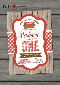 Picnic Birthday Invitation Summer Birthay by PartyInvitesAndMore