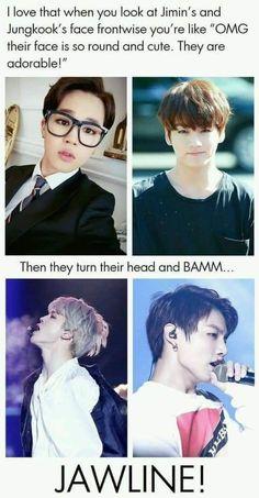 Jimin Jungkook jawline<<I'm not in the kpop fandom but these boys are frickin hot Jikook, Bts Jimin, Bts Bangtan Boy, Crush Memes, K Pop, Memes Fr, Stormtrooper, Cypher Pt 4, Bts Memes Hilarious