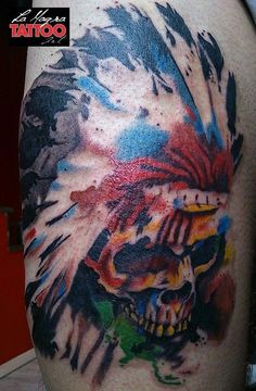 traditional skull flames tattoos -