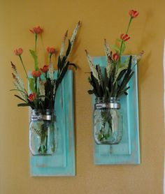 Set of Two Wall Scones Mason Jar Decor by revampedandrevived