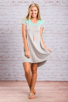 Our philosophy is easy. Life is too short to not be comfy and cute! With this dress you definitely get both! It's soft jersey knit fabric is so comfy and the t-shirt fit is fabulous! We love this casual striped dress with sandals, flats or even sneakers!