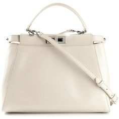 Fendi medium 'Peekaboo' tote (13 930 PLN) ❤ liked on Polyvore featuring bags, handbags, tote bags, white, fendi tote bag, top handle handbags, white tote bag, tote purses and fendi tote