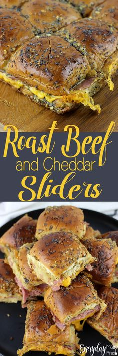 These Roast Beef and Cheddar Sliders are a simple comfort food, perfect for tailgating, a holiday party, or an event. While the roast beef and cheddar are delicious, the butter topping really sets this one apart from all the others. | EverydayMadeFresh.com https://www.everydaymadefresh.com/roast-beef-cheddar-sliders/