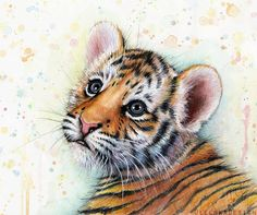 Tiger Cub Baby Animal Nursery Art Watercolor Painting PRINT Jungle Animal Illustration Zoo Jungle