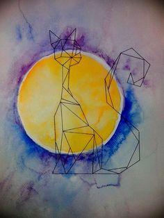 cat, moon, watercolor painting