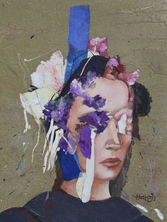 "Saatchi Art Artist Minas Halaj; Collage, "" Floral Mind #22 "" #art"